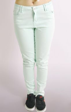 Skinny Jeans In Pastel Green Snow Wash